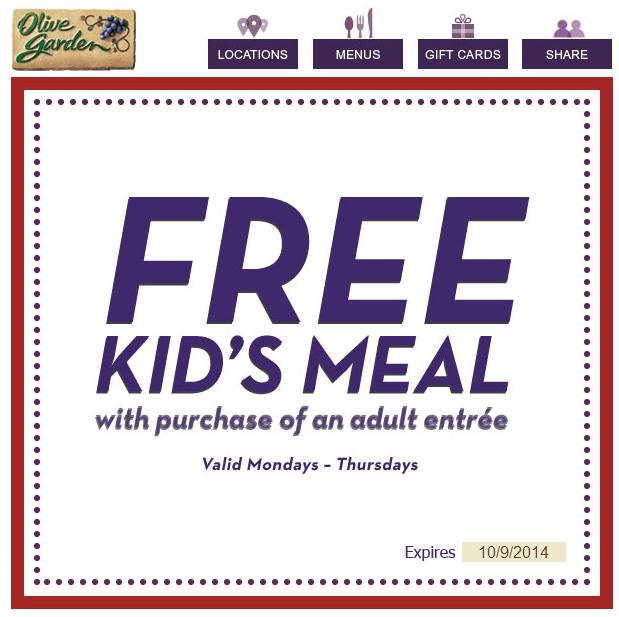 FREE Kids Meal at Olive Garden
