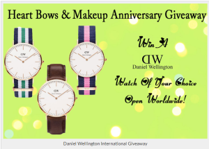 HBM_First_Anniversary_Giveaway-_Win_a_Daniel_Wellington_Watch._Open_Internationally!_-_Heart_Bows_&_Makeup_-_Indian_Makeup_&_Beauty_Blog,_Indian_Fashion_Blog,_Delhi_Beauty_&_Fashion_Blog,_Eye_Makeup_Tutorials,_Makeup_Reviews