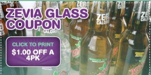 1 Savings off 4 PK Zevia Glass